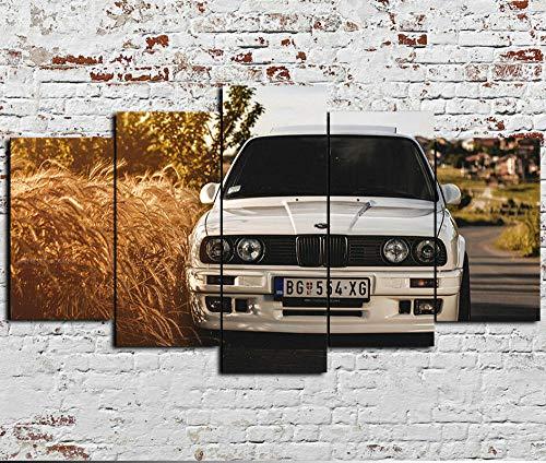 199Tdfc 5 Pezzi Art Murale - Stampa su Tela - Auto Classica BMW 325I E30 M3 E36 E46 - Stampa su Tela in TNT XXL Immagini Moderni Murale Fotografia Grafica Decorazione da Parete Quadro 100X55 cm