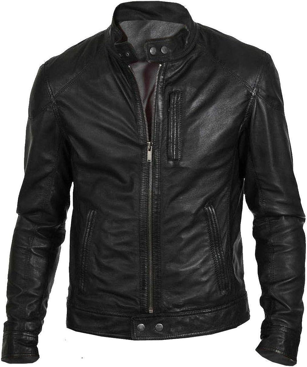 Zamish Leather Men's Hunt Black Classic Fashion Biker Jacket in Lambskin Leather
