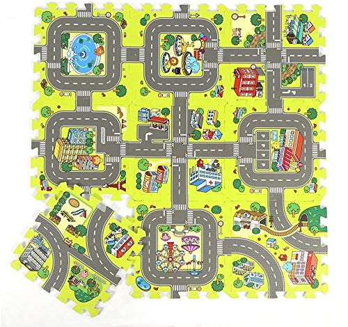 Baby Interrocking Play Mat Set, 9piece Kids Road Road Traffic Play Play Full, Soft Foam Toddler Puzzle Crawning Play Play Mat Niño Actividad Niño Azulejos