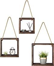Mkono Wood Hanging Wall Shelf Swing Rope Floating Shelves Rustic Home Decor Organizer for Living Room Bedroom Bathroom Kit...