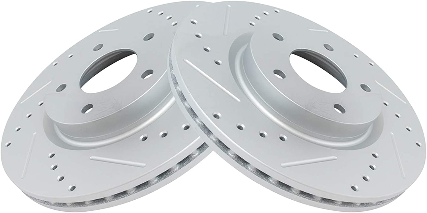 TRQ Front Performance Brake Rotor Drilled Slotted Set Max 53% OFF 2 for Free shipping Pair