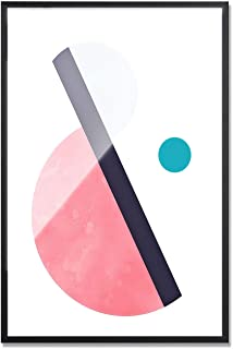 MOTINI Abstract Wall Art Pink and Grey Geometric Modern Wall Decor Artwork Print Unique Pictures on Acrylic Board Framed Paintings
