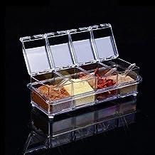 4 pcs / lot nouvelle cuisine organisateur boîtes de rangement épices assaisonnement pot Transparent sucre sel bouteille cu...