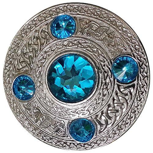 AAR Men's Celtic Kilt Fly Plaid Brooch Sky Blue 5 Stones Silver 4'/ Scottish/Highland
