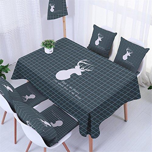 Ommda Nappe de Table Rectangulaire Anti Tache Lin Nappe de Table Salon Epaisse Nappe Nappe Carreau et Elk 90x140cm avec 4 taies d'oreiller 45x45cm