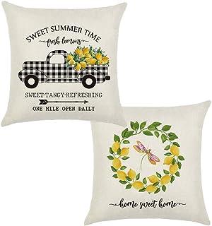 Dishaur Set of 2 Summer Lemon Throw Pillow Covers 18x18 Inches, Buffalo Check Farmhouse Decorative Pillowcase, Cotton Linen Cushion Covers Home Decor for Sofa Couch