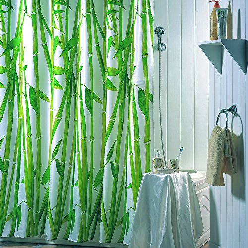 MSV Duschvorhang Bambus aus Polyester 180x200cm, Mehrfarbig, 30 x 20 x 15 cm