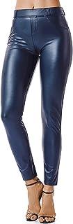 Mujeres PU Leggins Cuero Brillante Pantalón Elásticos Pantalones para Mujer