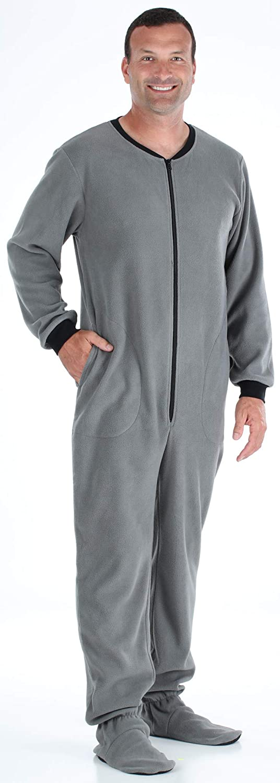 SleepytimePjs Men's Fleece Footed Solid Color Onesie Pajamas Jumpsuit, Grey, X-Small