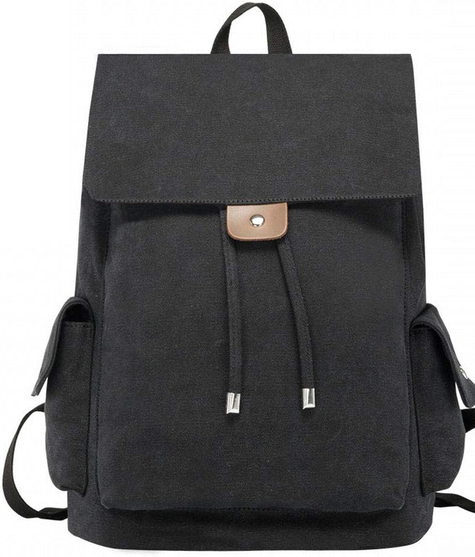MackeJacke Fashion Backpack Computer Bag Travel Backpack Middle School Student Canvas Bag 15.75  12.20  6.69In Black