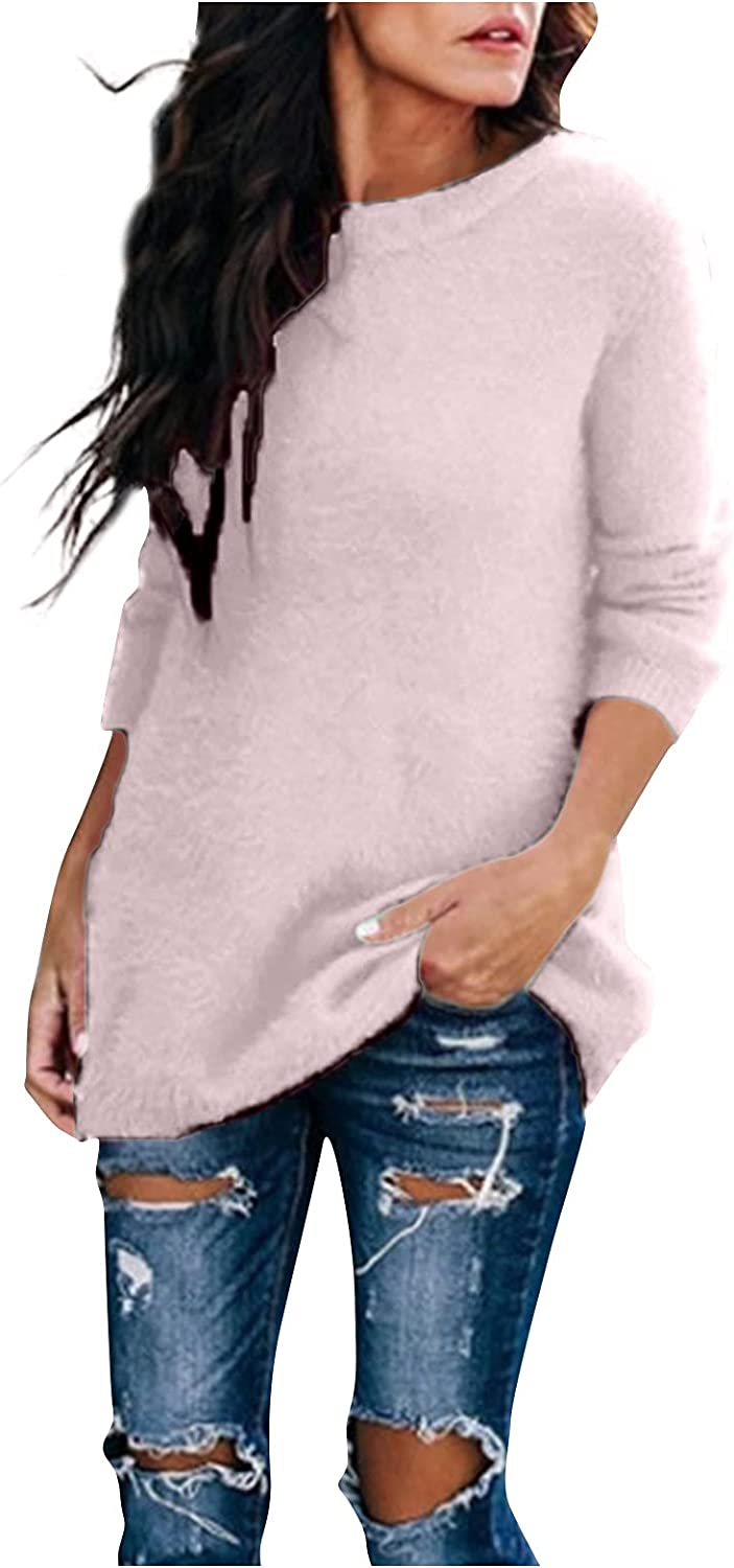 Womens Long Sleeve Tops Fall Sweaters Round Neck Knitwear Casual Loose Knitted Tops Pullover