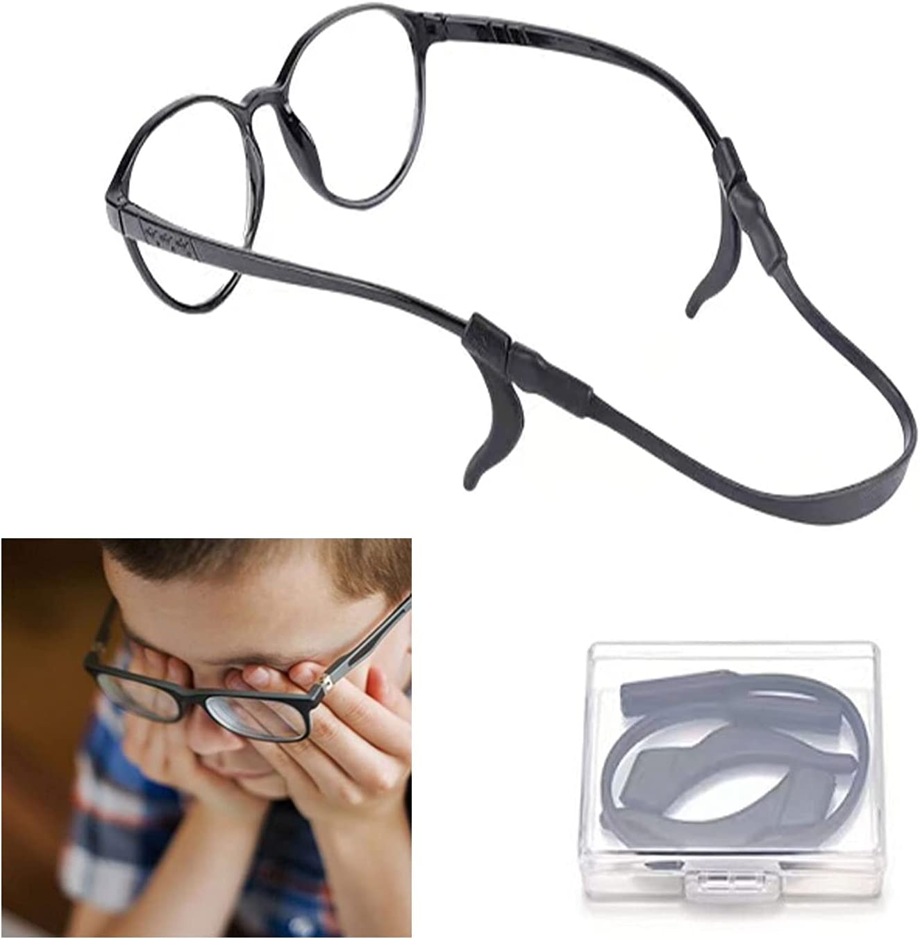 CIOOII 3 Pairs Anti-Slip Silicone Glasses Straps-Silicone non-slip ear hook-Eyewear Retainer-Eyeglass Strap For Kid (BLACK)