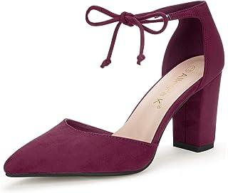 Allegra K Women's Ankle Tie Point Toe Dress Pumps