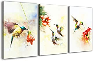 Hongwu Wall Art 3 Piece Hummingbird Painting Modern Canvas Prints Flower Bird Picture on Canvas Stretched Ready to Hang for Home Decoration 16x24inch