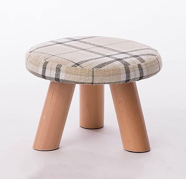 JCRNJSB Sofa Stool Coffee Table Low Stool Solid Wood Blocks Shoe Bench Mushroom Stool Shoes Bench Removable Round Short Leg Sofa Stool Wooden Benc Color 3