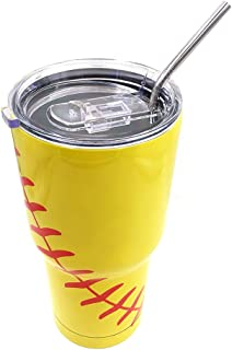DeanFire 30oz Softball Tumbler Cups with Lid and Straw, Sports Travel Coffee Mug, Stainless Steel,Vacuum Insulated, Keep Drinks Cold and Hot (Yellow)