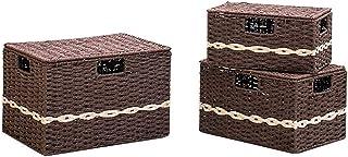ZCJUX Ensemble de bacs de rangement, boîte de rangement pliable Cube avec couvercles et poignées Organisateur de paniers d...
