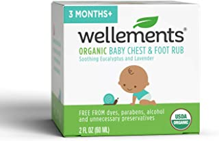 Wellements Organic Baby Chest & Foot Rub, 2 Fl Oz, Eucalyptus and Lavender, Free from Dyes, Parabens, Alcohol, Preservatives