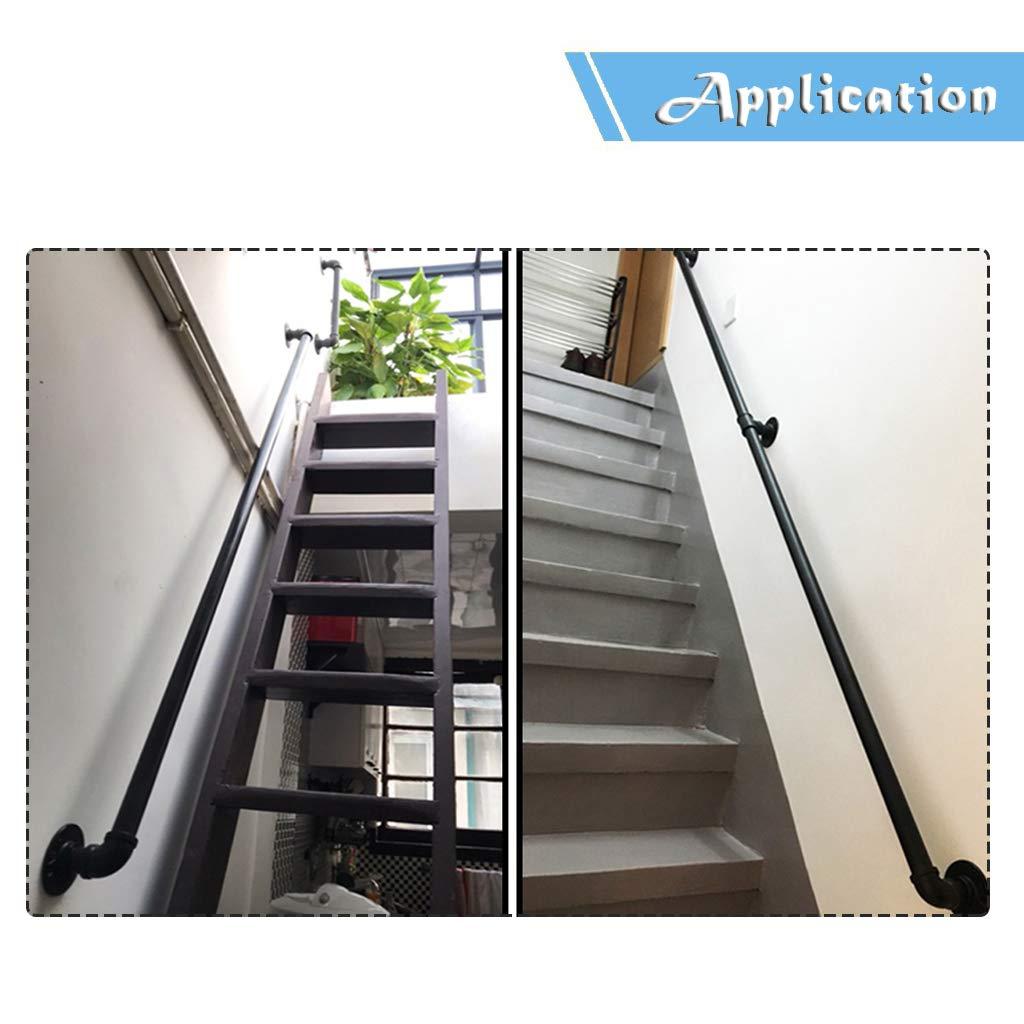 Redondo Pasamanos para escaleras Exterior Interior Metal Negro Hierro Forjado |Las Soportes de barandillas de barandas Directamente a la Puerta de la Escalera o a la Entrada de la Bodega: Amazon.es: Hogar
