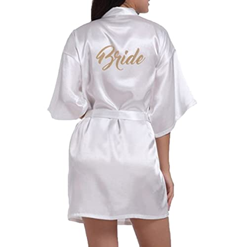 b15460ce28 WPFING Bride Robes Satin Bridesmaid Robes Personalised for Bridal Party  Glitter