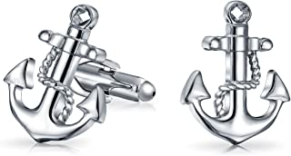 Yacht Boater Sailor Nautical Rope & Anchor Shirt Cufflinks for Men Executives Bullet Hinge Back Yellow