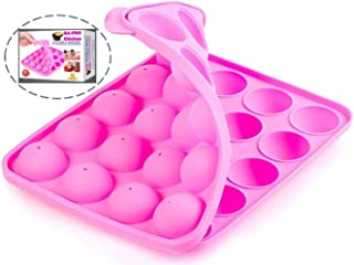 BA-PRO JNXD-119, 20-Cavity Ball Shape Baking Mold, Muffins Cupcakes Cookware Silicone Set, Best for Brownies, Pies, Lollipops, Candies, Jelly and Chocolate, Ice Cream Tray, 228/186/40mm (L/W/H), Pink
