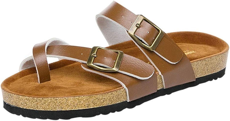 Flats Women Cross Toe Double Buckle Strap Summer Leather Flat Flip Flops Thick Soled Cork Sandal