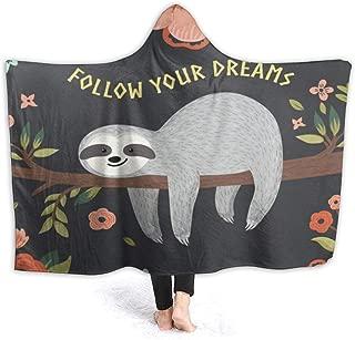 OuLian Hooded Blanket Cartoon Sloth in Flowers Jungle Wearable Fleece Blankets Soft Warm for Kid Adults Women Men Throw Cuddle Poncho Cloak Cape 60