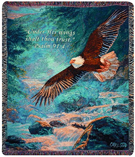 Manual Woodworkers & Weavers Tapestry Throw, Psalm 91:4, 50 x 60-Inch, American Majesty Scripture