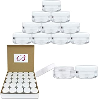 50 New Empty 5 Grams Acrylic Clear Round Jars - BPA Free Containers for Cosmetic, Lotion, Cream, Makeup, Bead, Eye shadow, Rhinestone, Samples, Pot, Small Accessories 5g/5ml (WHITE LID)