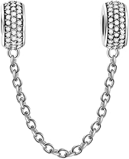 SOUFEEL Charm Safety Chain for Bracelets 925 Sterling Silver DIY Charms Beads for European Bracelets Gift for Women Girls ...