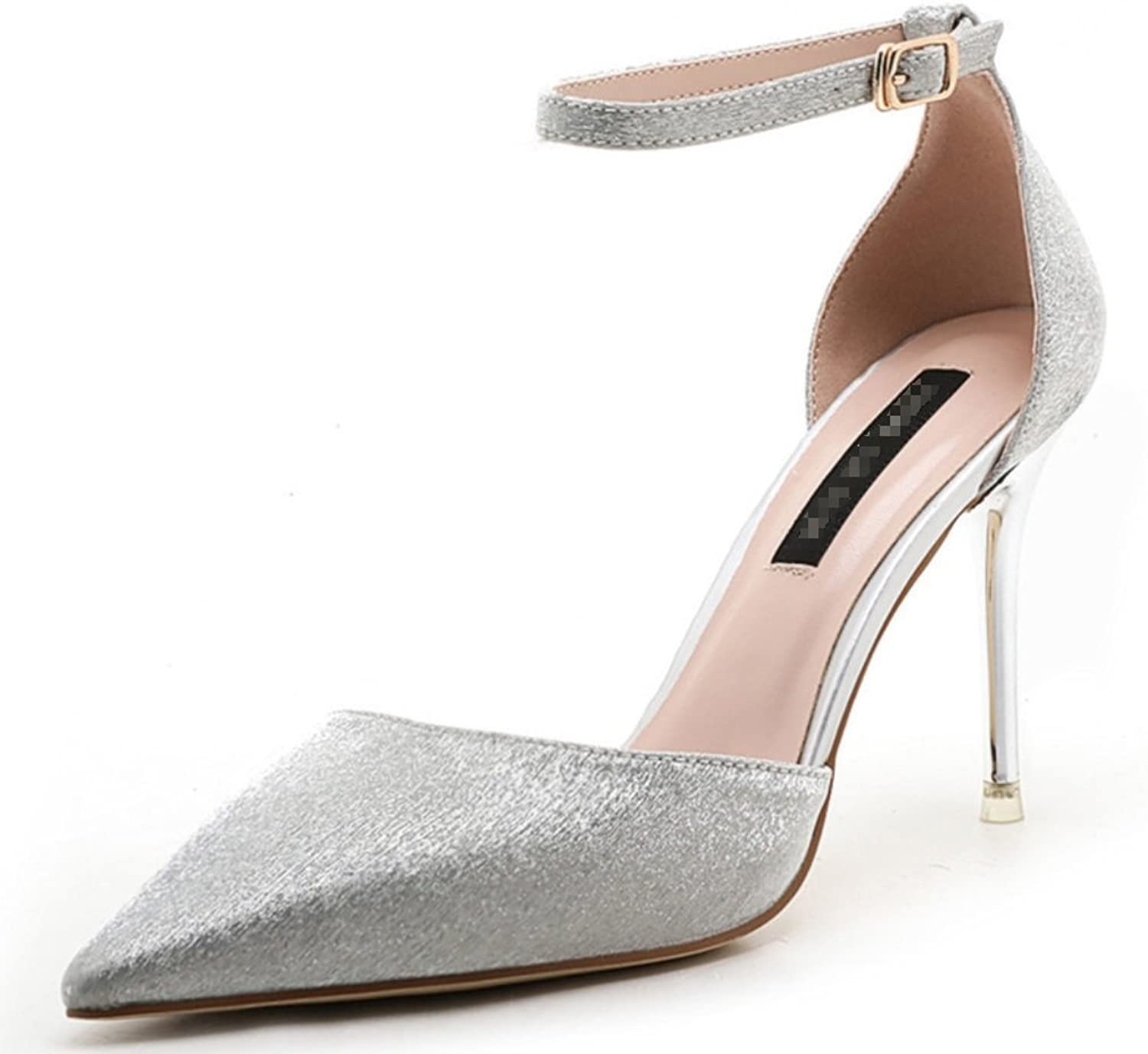 Ladies Super High Heels-Sexy Pointy Sandals-Solid color Sequins One-Word Buckle shoes Formal, Wedding, Party Comfort Classic Series Zhhzz