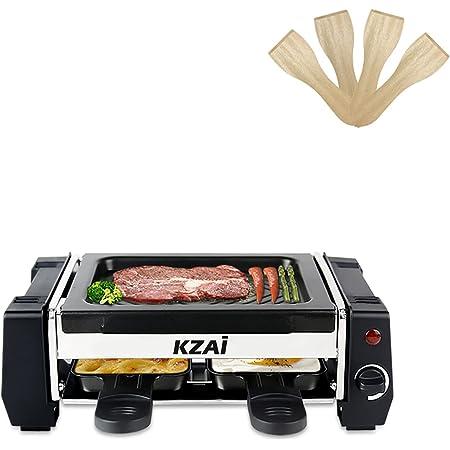 Appareil a Raclette 2 Personne, Mini Raclette avec Revêtement Antiadhésif, 2 Poêlons et 2 Spatule en Bois, 500W Noir