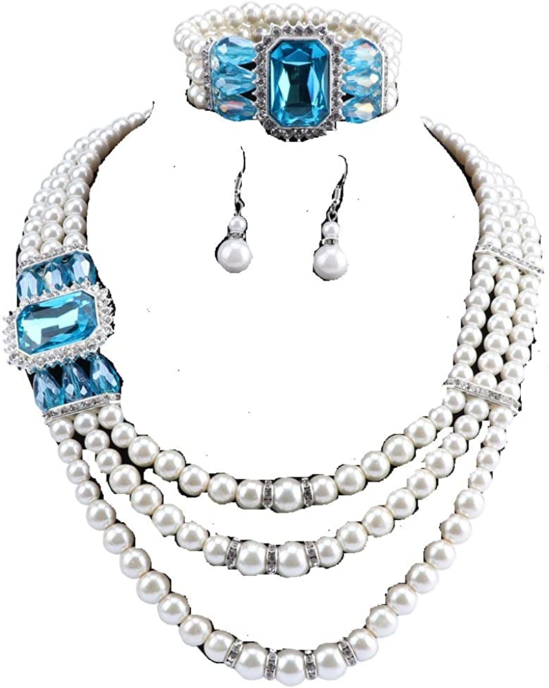 Women's 3 Layer Simulated Large Pearl Crystal Statement Necklace Bangle Earrings Strand Costume Jewelry Set with Gifts Boxes