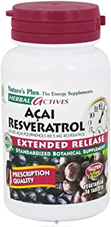 NaturesPlus Herbal Actives Acai Resveratrol - 30 Vegetarian Tablets, Extended Release - Antioxidant Support Supplement wit...