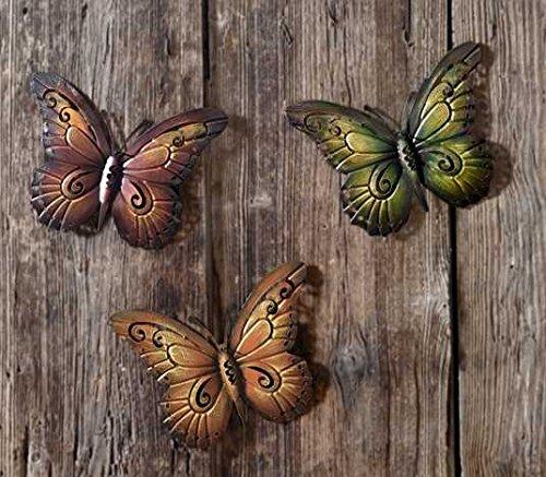 bb10 Schmuck Gartenfigur aus Metall Schmetterling aus Metall 3er Außendeko aus Metall Deko-Schmetterlinge sind für den Außenbereich geeignet