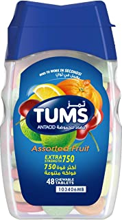 Tums Antacid Chewable Tablets, Extra Strength For Heartburn Relief & Indigestion, Assorted Fruit, 48 Tablets