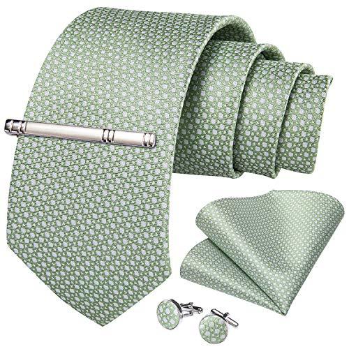 DiBanGu Sage Green Tie for Men Silk…