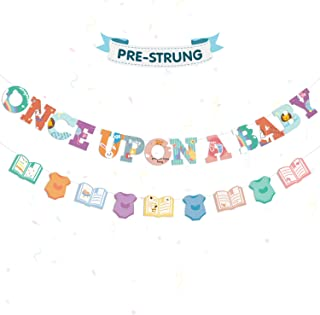 Once Upon A Baby Banner Storybook Baby Banner for Book Themed Baby Shower Nursery Decorations Supplies Pre-Strung & Ready to Hang