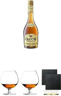 Chantrè deutscher Weinbrand 1,0 Liter  Cognacglas/Schwenker Stölzle 1 Stück - 103/18  Cognacglas/Schwenker Stölzle 1 Stück - 103/18  Schiefer Glasuntersetzer eckig ca. 9,5 cm Durchmesser 2 Stück