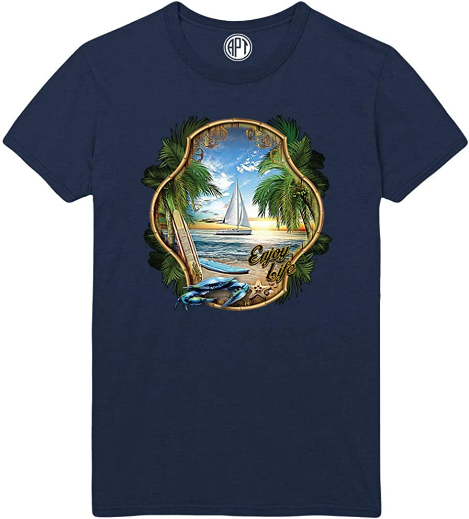 Enjoy Life Beach Sailboat Sunset Printed T-Shirt