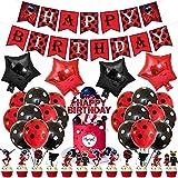 Decoración para fiestas de cumpleaños con mariquitas para decoración de tartas, globos de látex de aluminio y aluminio para mariquitas, accesorios de fiesta