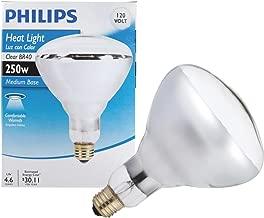 Phillips 416743 Heat Lamp 250-Watt BR40 Clear Flood Light Bulb 4 Pack