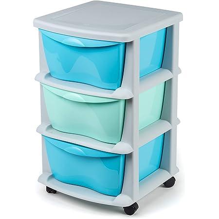 Tiroirs de Rangement en Plastique sur des Roues résistantes 3 tiroirs de Cabinet conteneurs de Stockage Bleu et Vert - Fabriqués en Europe