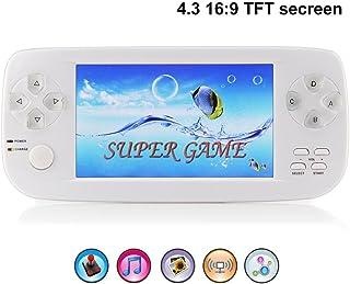 BAORUITENG Handheld Game Console, Portable Video Game Console 4.3 Inch 3000 Classic Retro Game Console Pap-KIII , Support GBA / GBC / GB / SEGA / NES / SFC / NEOGEO (White)