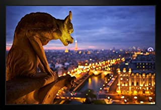 "Poster /""Paris Gargoyle/"" Size 20 X16 Photographed from Notre Dame Eiffel Tower"