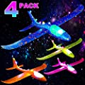 4 Pcs Light Up Airplane Toys for Kids 15 INCH Large Throwing Foam Plane Glider for Boys Girls Birthday Party Glow in The Dark Outdoor Sport Flying Game Toy for 3 4 5 6 7 Year Old Toddlers Teens by Lotiang