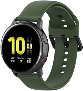 FunDiscount Sport Band Compatible with Samsung Galaxy Watch Active 2 40mm/44mm, Soft Silicone Replacement Strap Women and Men Wristband Compatible with Galaxy Watch Active2 (Army Green, Large)