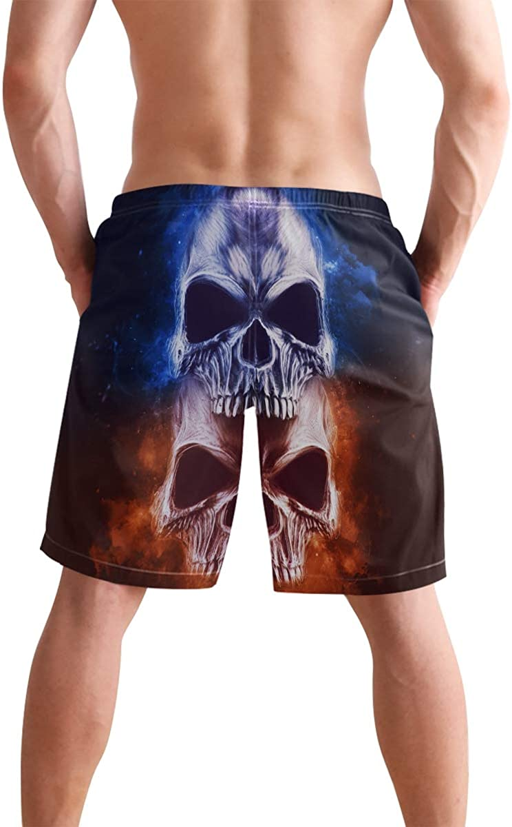 Skulls Star Unicorn Horse Mens Swim Trunks 4th of July Beach Board Shorts Quick Dry Independence Day Swim Shorts with Pockets