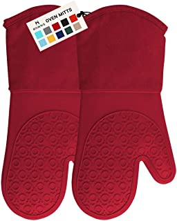 HOMWE Professional Silicone Oven Mitt, Oven Mitts with Quilted Liner, Heat Resistant Pot..
